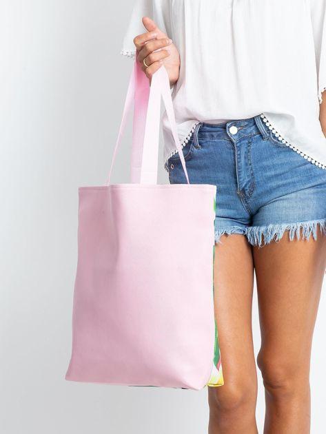 Zielono-różowa torba z egzotycznym nadrukiem                              zdj.                              2