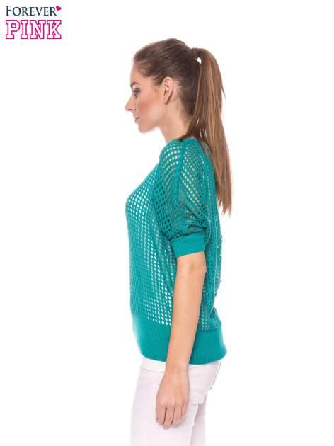 Zielony ażurowy sweter oversize                                  zdj.                                  3