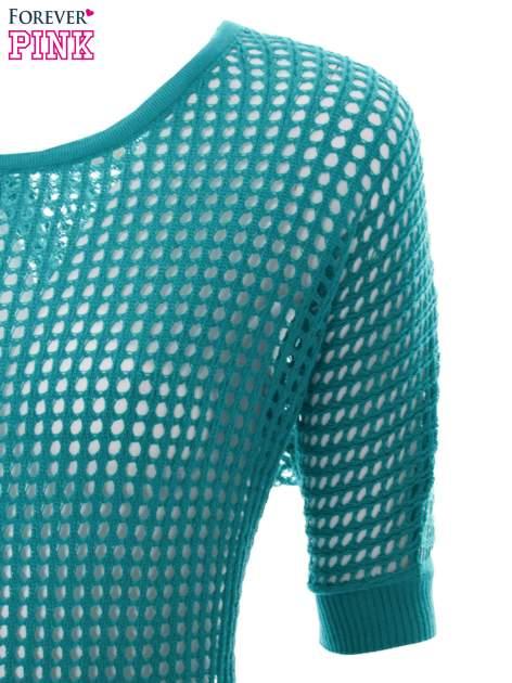 Zielony ażurowy sweter oversize                                  zdj.                                  6