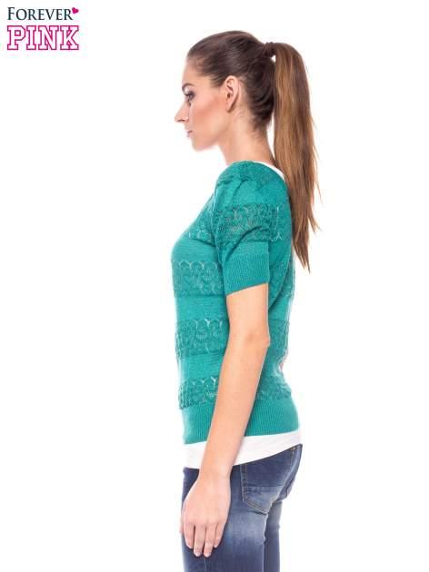 Zielony ażurowy sweterek w stylu retro                                  zdj.                                  3