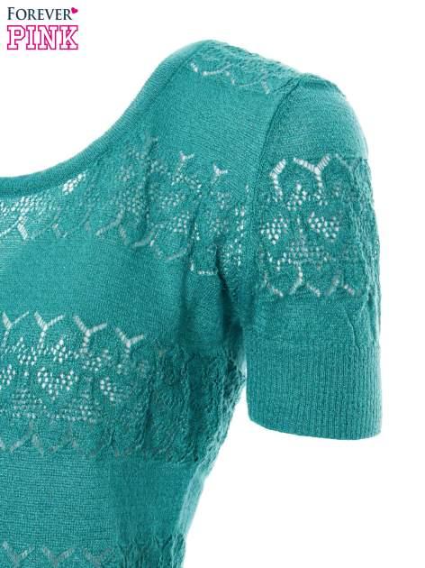 Zielony ażurowy sweterek w stylu retro                                  zdj.                                  6
