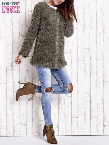 Zielony futrzany sweter kurtka na suwak                                  zdj.                                  9