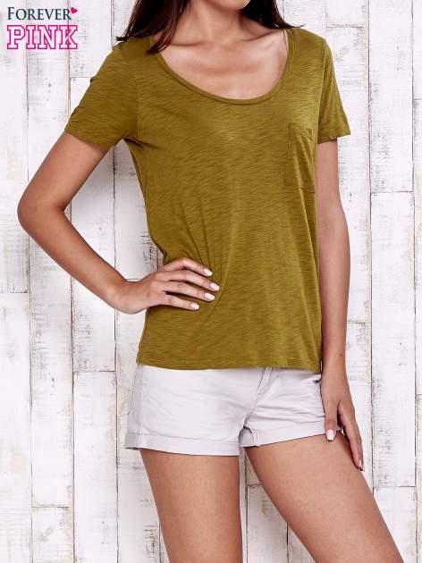 Zielony gładki t-shirt basic                                  zdj.                                  1
