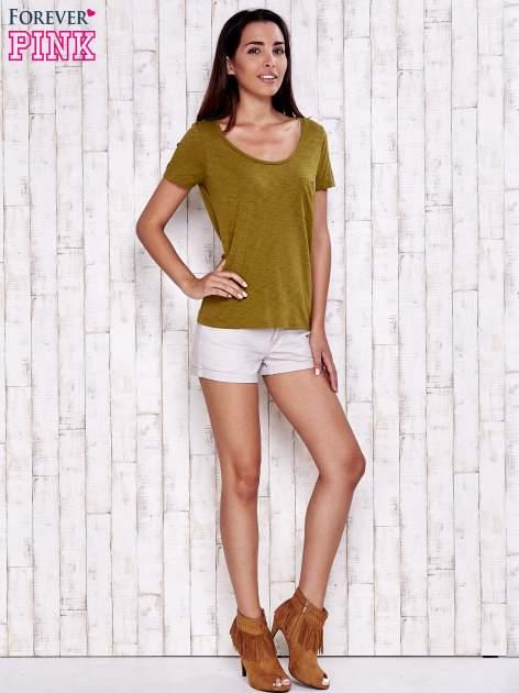 Zielony gładki t-shirt basic                                  zdj.                                  4