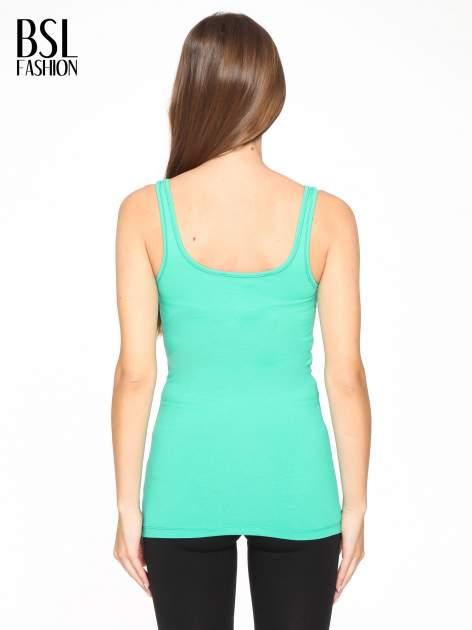 Zielony gładki top na szerokich ramiączkach                                  zdj.                                  4