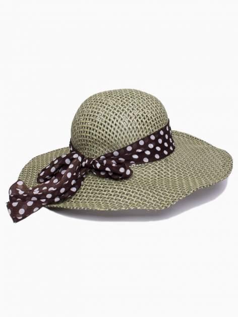 Zielony kapelusz słomiany z dużym rondem i apaszką w grochy                                  zdj.                                  2