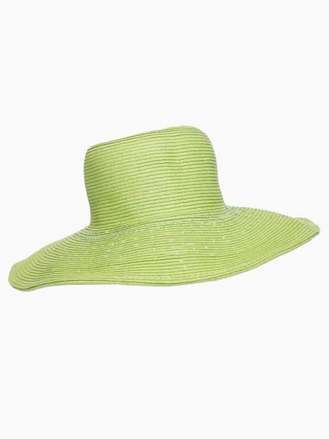 Zielony kapelusz słomiany z dużym rondem i kryształkami                                  zdj.                                  4