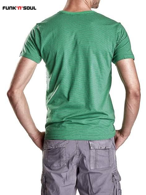 Zielony klasyczny t-shirt męski w paski Funk n Soul