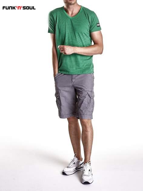 Zielony klasyczny t-shirt męski w paski Funk n Soul                                  zdj.                                  7