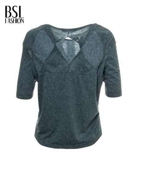 Zielony melanżowy t-shirt o luźnym kroju                                  zdj.                                  3