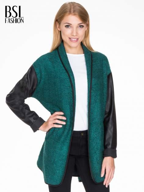 Zielony otwarty płaszcz ze skórzanymi rękawami                                  zdj.                                  1