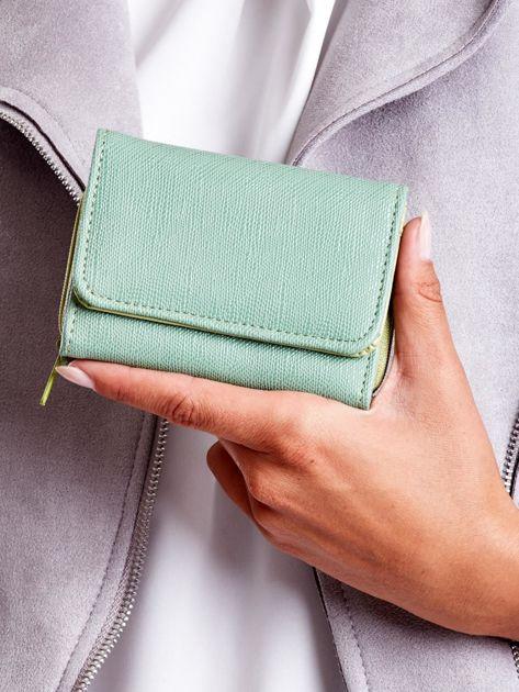 Zielony portfel damski ze skóry ekologicznej