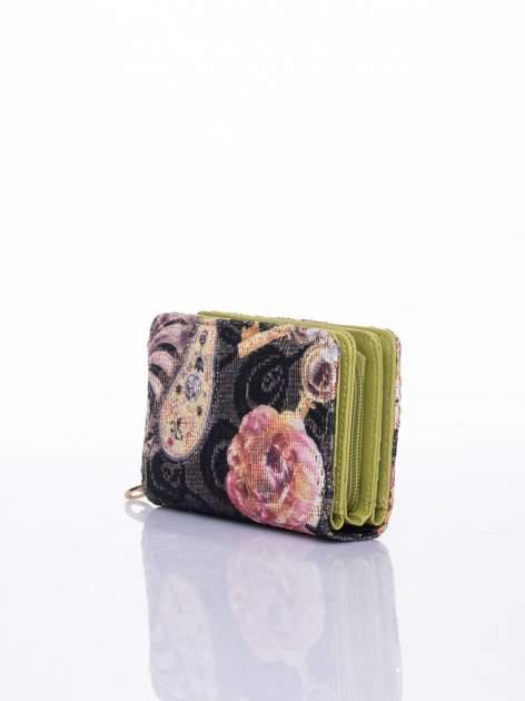 Zielony portfel z kwiatowymi motywami                                  zdj.                                  3