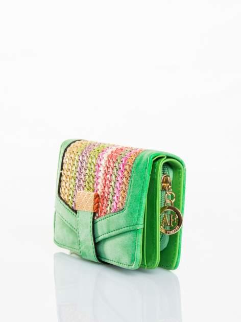 Zielony portfel z plecionką                                  zdj.                                  2