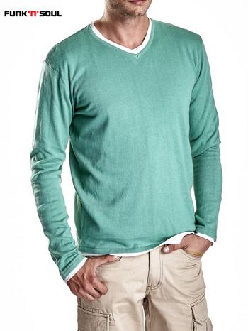 Zielony sweter męski w serek Funk n Soul                                  zdj.                                  4