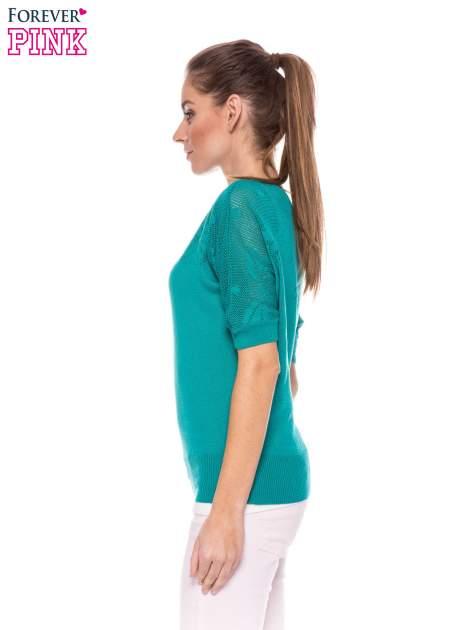 Zielony sweter z ażurową górą i krótkim rękawkiem                                  zdj.                                  3