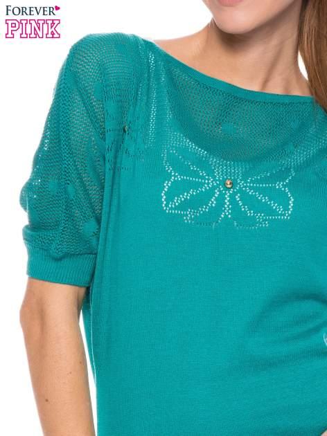 Zielony sweter z ażurową górą i krótkim rękawkiem                                  zdj.                                  5