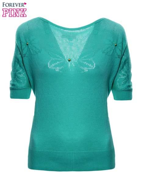 Zielony sweter z ażurową górą i krótkim rękawkiem                                  zdj.                                  2