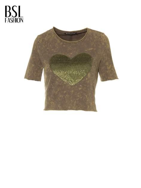 Zielony t-shirt cropped z cekinowym sercem                                  zdj.                                  2