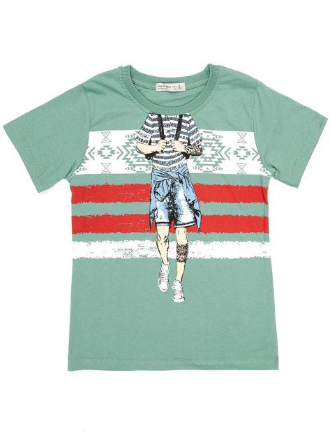 Zielony t-shirt dla chłopca z nadrukiem                              zdj.                              6