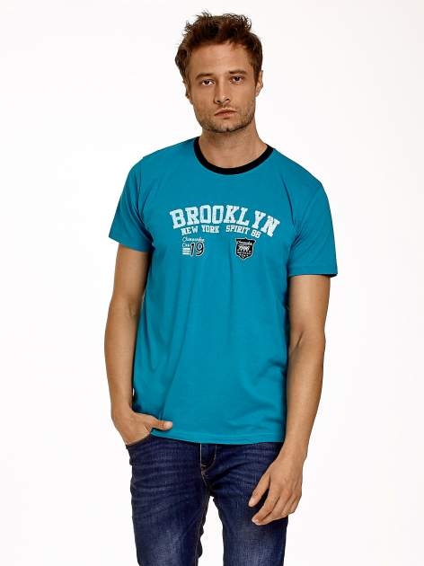 Zielony t-shirt męski z napisami BROOKLYN NEW YORK SPIRIT 86                                  zdj.                                  2