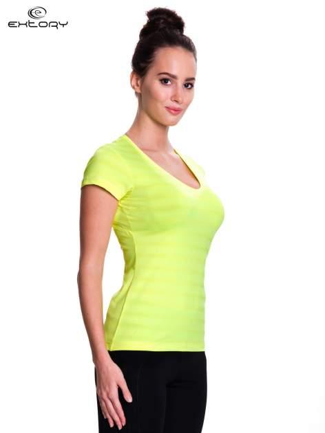 Zielony t-shirt sportowy w paseczki                                  zdj.                                  3
