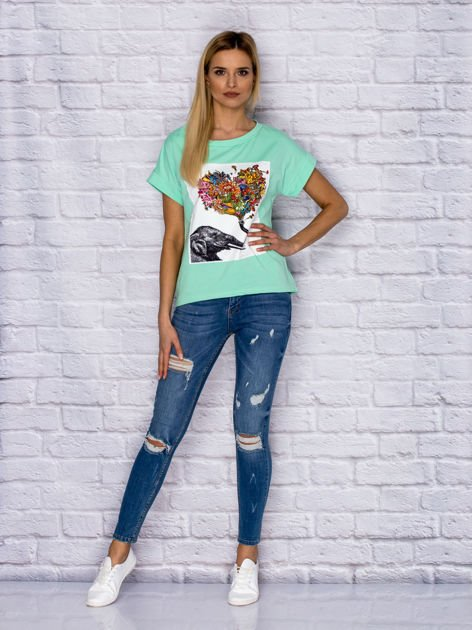 Zielony t-shirt z malarskim nadrukiem                              zdj.                              4