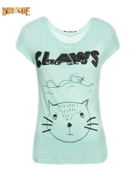 Zielony t-shirt z nadrukiem kota i myszy