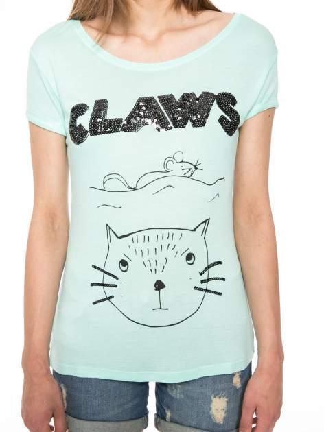 Zielony t-shirt z nadrukiem kota i myszy                                  zdj.                                  7
