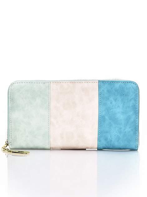 Zielony trójkolorowy portfel z uchwytem