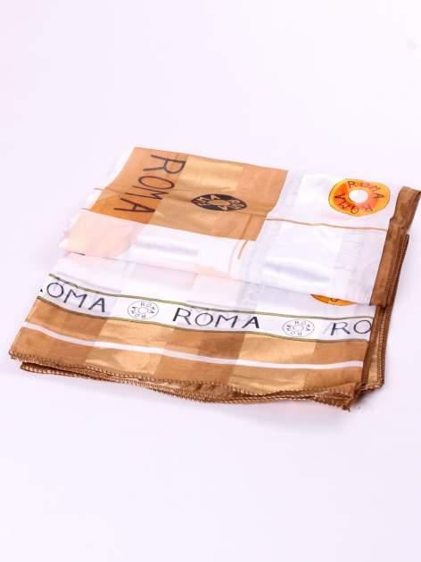 Złota chusta apaszka z nadrukiem ROMA                                  zdj.                                  3