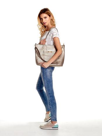 Złota pleciona torba shopper bag ze złotym detalem                                  zdj.                                  6