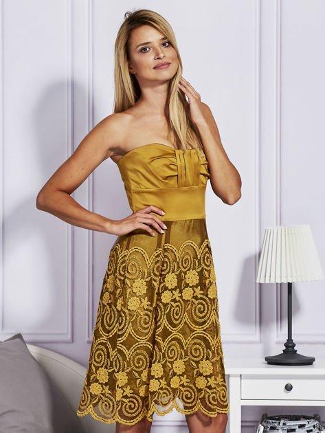 Złota sukienka z koronkową spódnicą                                  zdj.                                  3