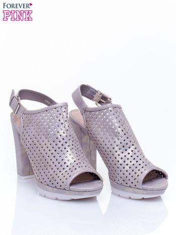 Złote ażurowe sandały na słupku                                  zdj.                                  3