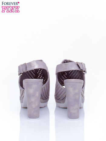 Złote ażurowe sandały na słupku                                  zdj.                                  5