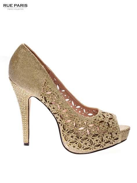 Złote ażurowe szpilki peep toe na platformie