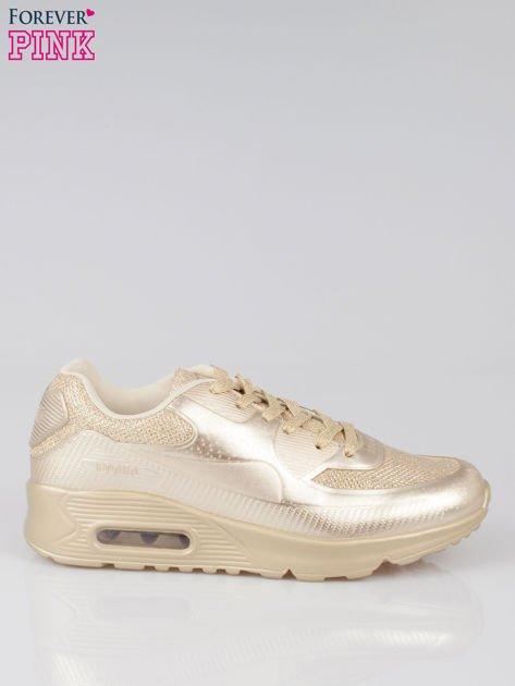 Złote buty sportowe faux leather Desire na podeszwie z poduszką powietrzną                              zdj.                              1