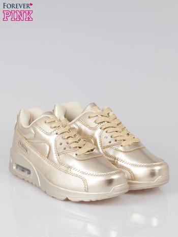 Złote buty sportowe faux leather Gigi z poduszką powietrzną w pięcie                                  zdj.                                  2
