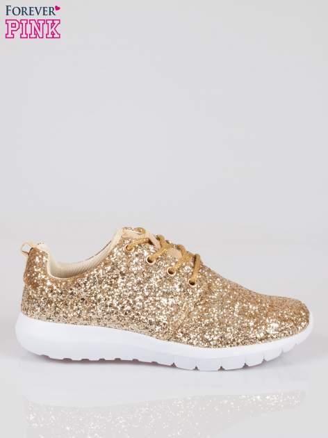 Złote buty sportowe textile Crummy z brokatowym efektem                                  zdj.                                  1