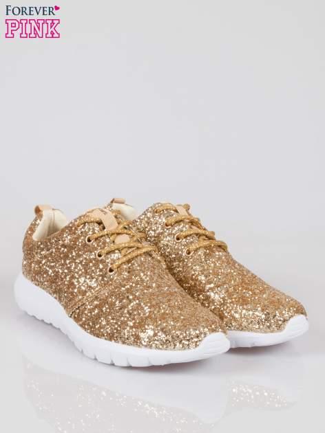 Złote buty sportowe textile Crummy z brokatowym efektem                                  zdj.                                  2