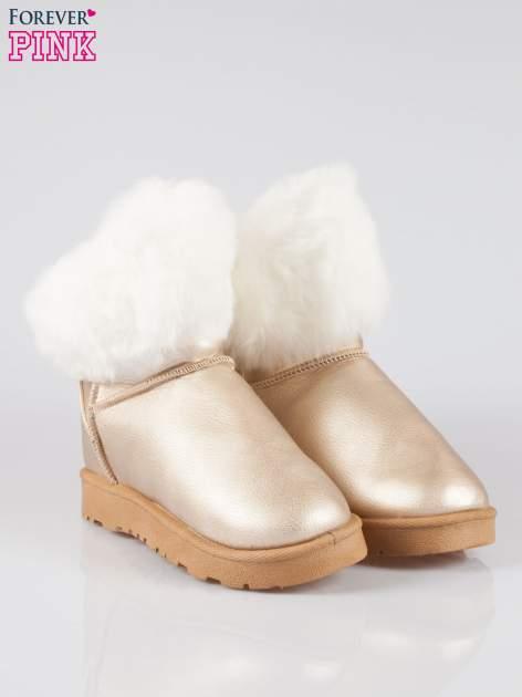 Złote krótkie śniegowce damskie z kożuszkiem                                  zdj.                                  2