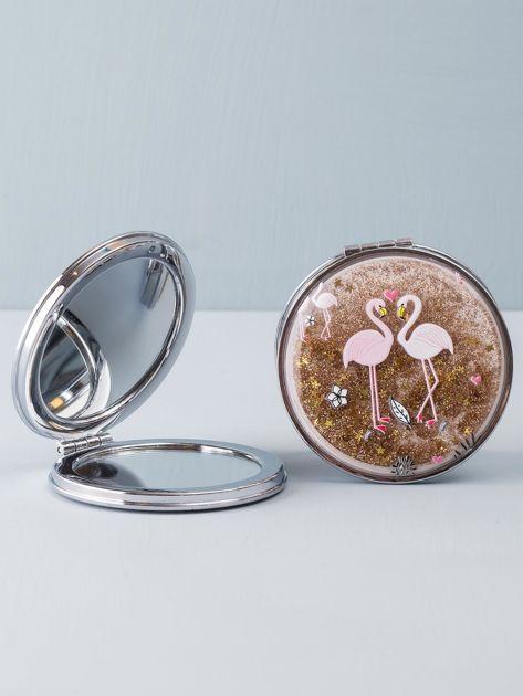 Złote okrągłe lusterko kosmetyczne