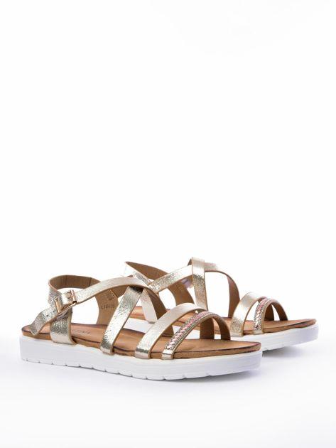 Złote sandały SABATINA z biżuteryjnym paskiem                              zdj.                              4