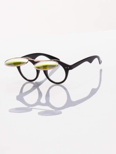 Złoto-czarne okulary przeciwsłoneczne w stylu vintage retro lustrzanki                                  zdj.                                  2