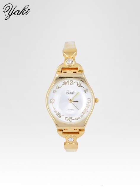 Złoty biżuteryjny zegarek damski z białą tarczą                                  zdj.                                  1