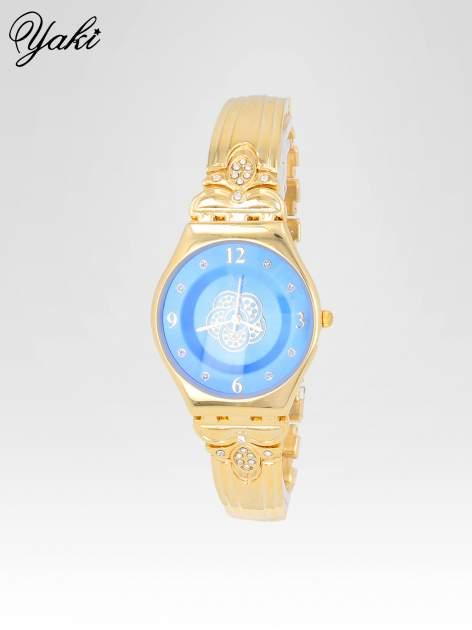Złoty biżuteryjny zegarek damski z niebieską tarczą                                  zdj.                                  2