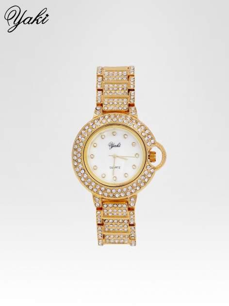 Złoty cyrkoniowy zegarek na bransolecie z ozdobą przy koronce                                  zdj.                                  1