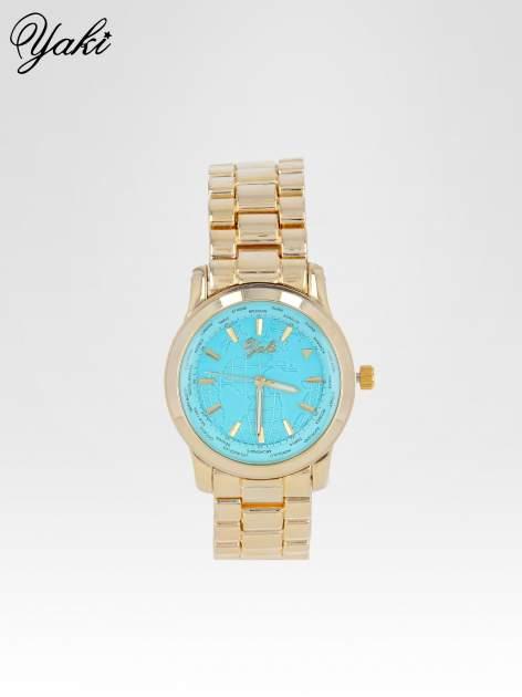 Złoty zegarek damski globtroter z niebieską tarczą z motywem mapy                                  zdj.                                  1