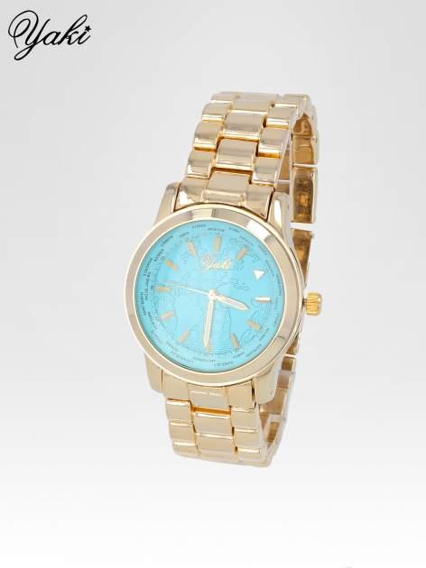 Złoty zegarek damski globtroter z niebieską tarczą z motywem mapy                                  zdj.                                  2