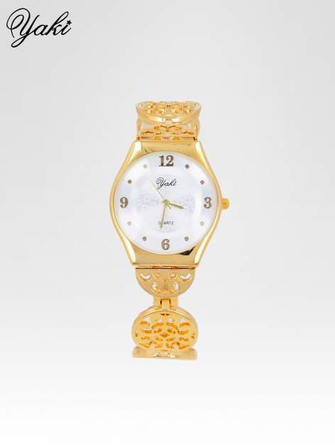 Złoty zegarek damski na ażurowej bransolecie